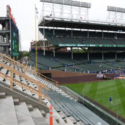 11:33 a.m. A view showing how the extended right field bleacher looks from the upper center field bleachers -