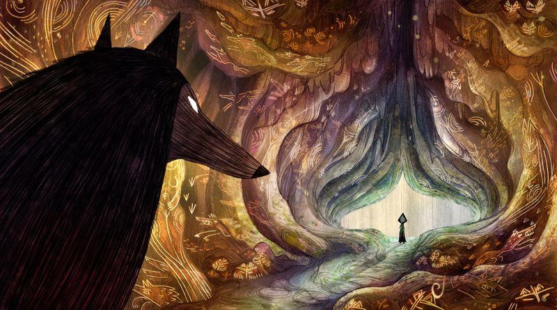 Un loup regarde dans une grotte.