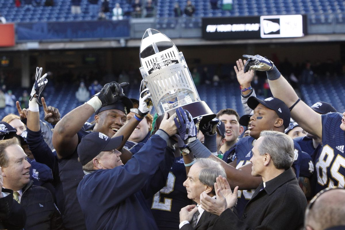 Pictured: a trophy that might not be able to call South Bend home much longer.