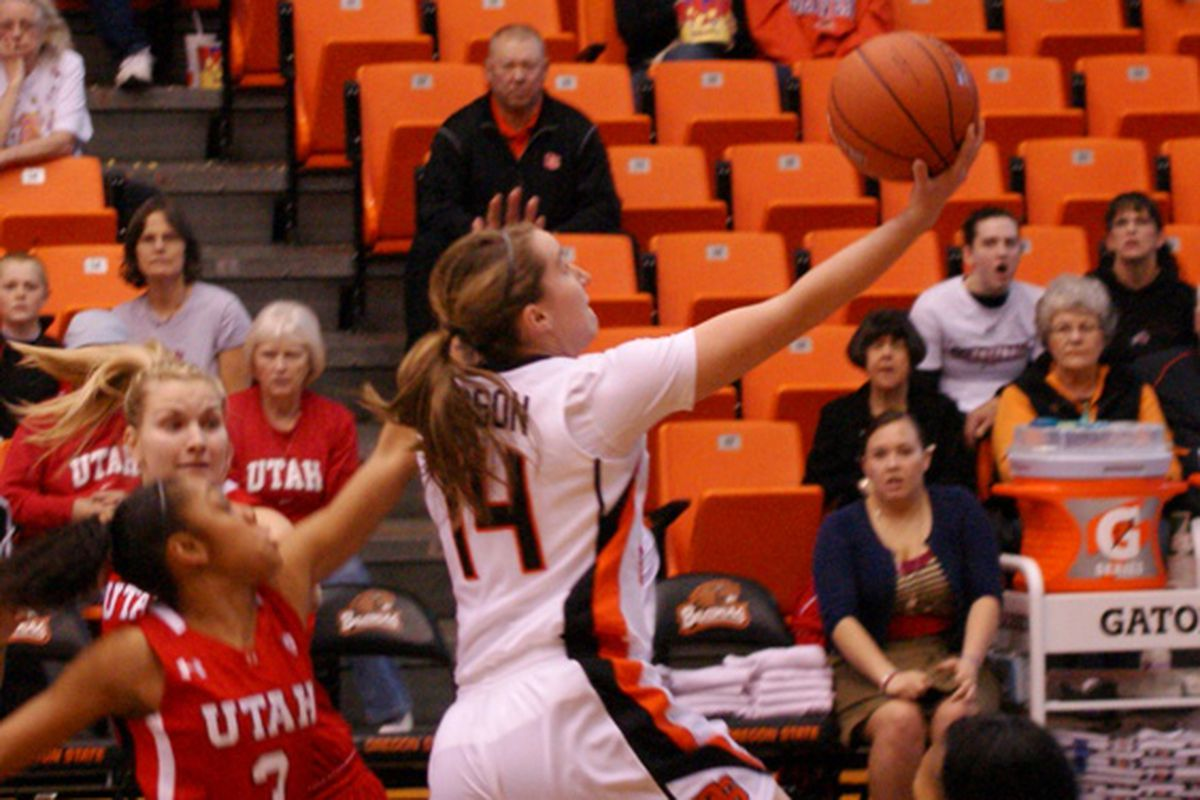 Ali Gibson and the Oregon St. Beavers will be back in action Thursday at Gill Coliseum, in the WNIT, against UC-Davis. Utah will be too, as 5 teams from the Pac-12 are in the field of 64. <em>(Photo by Andy Wooldridge)</em>