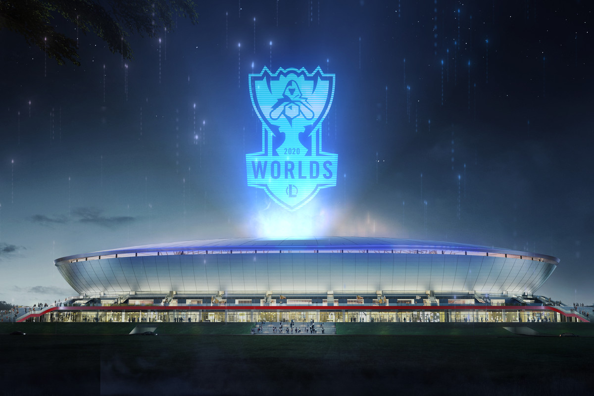 The League of Legends World Championship logo floats over the Pudong Soccer Stadium in Shanghai