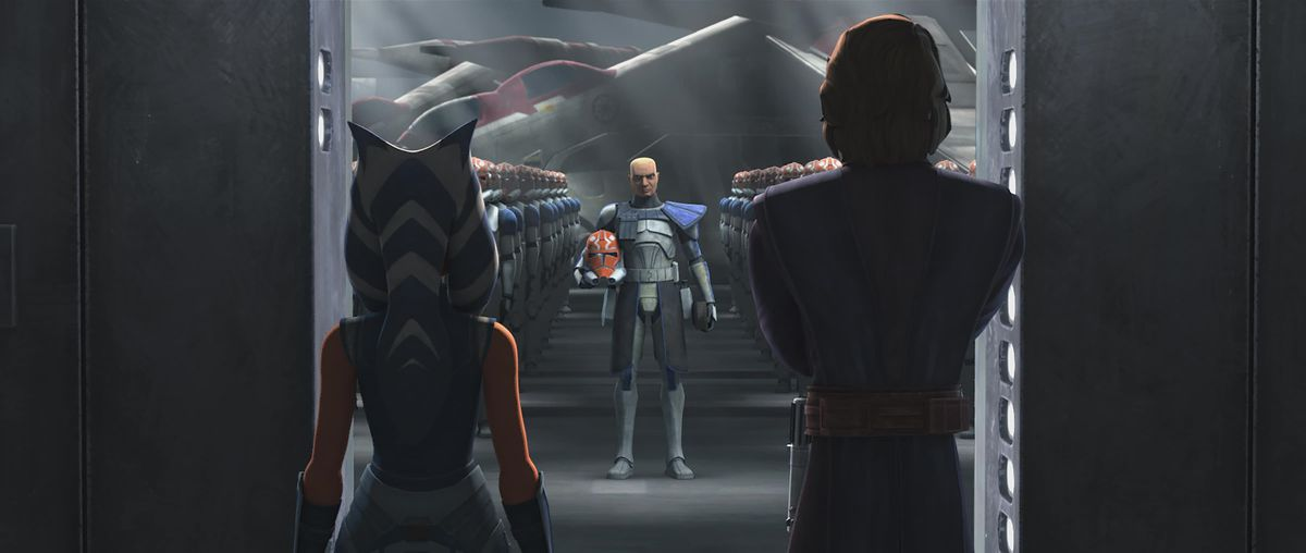 """Old Friends Not Forgotten,"" Star Wars: The Clone Wars season 7: Ahsoka and Anakin face the clones"