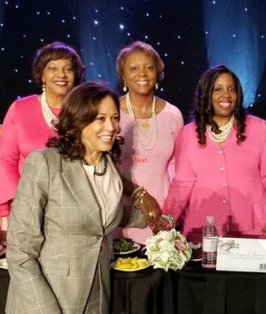 Democratic vice presidential nominee Kamala Harris, at the time running for president, shares a moment with Alpha Kappa Alpha Regional Directors (l-r) Carolyn G. Randolph, Jennifer King Congleton and Sonya L. Bowen at the sorority's 2019 South Central Regional Conference in New Orleans.