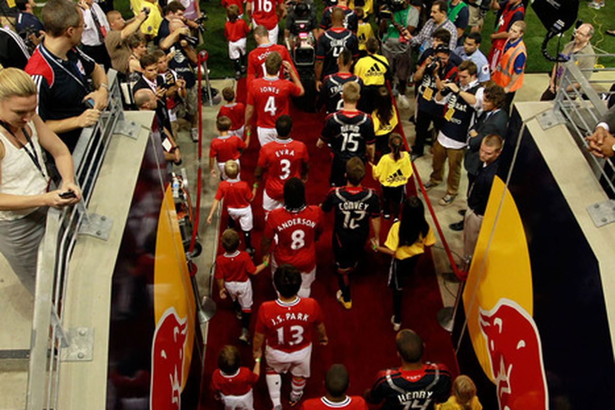 HARRISON, NJ - JULY 27:  The MLS All-Stars take the field during pregame ceremonies before playing the Manchester United during the MLS All-Star Game at Red Bull Arena on July 27, 2011 in Harrison, New Jersey.  (Photo by Chris Trotman/Getty Images)