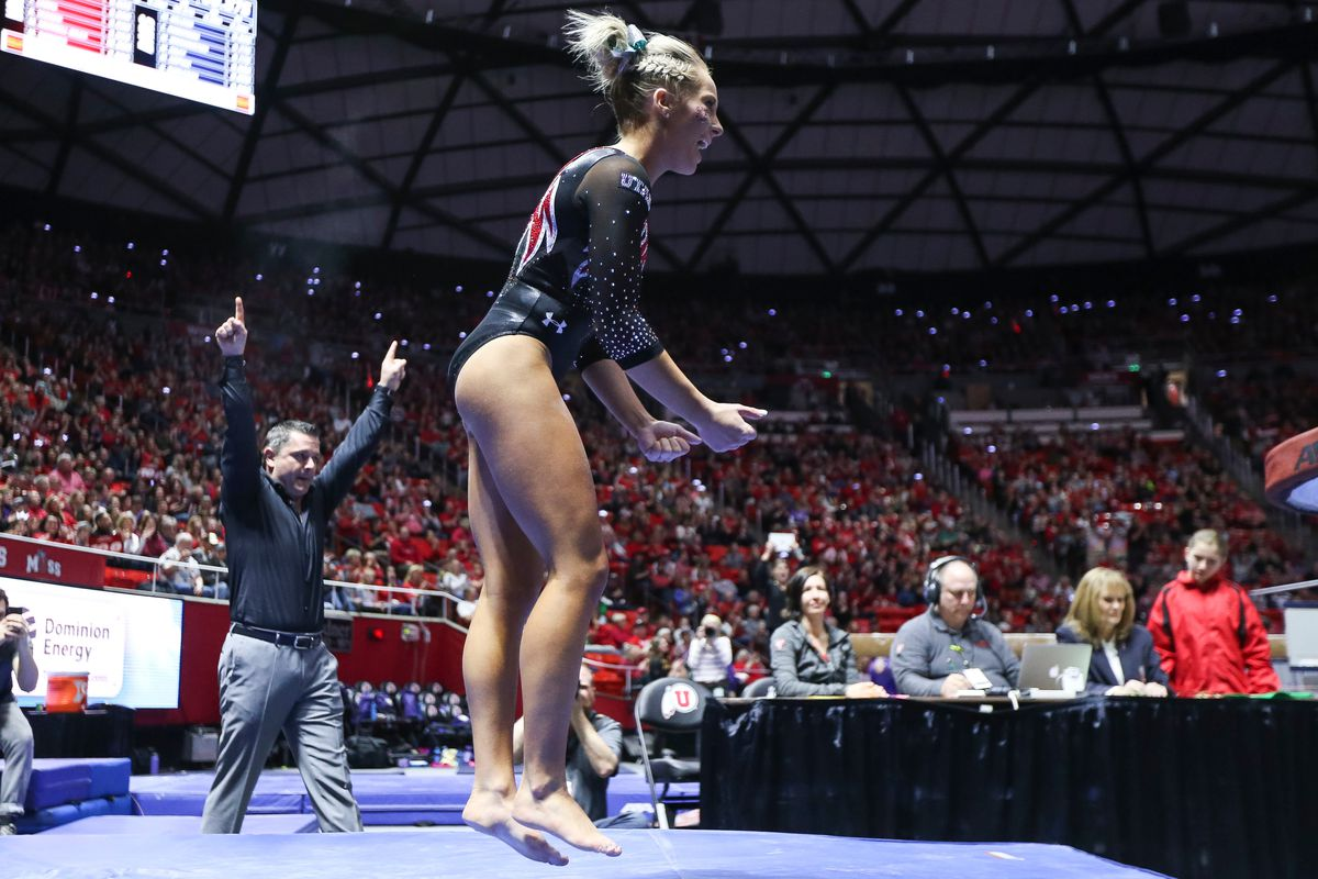 Utah's Mykayla Skinner reacts after competing on vault during a meet against Washington at the Huntsman Center in Salt Lake City on Saturday, Feb. 3, 2018.