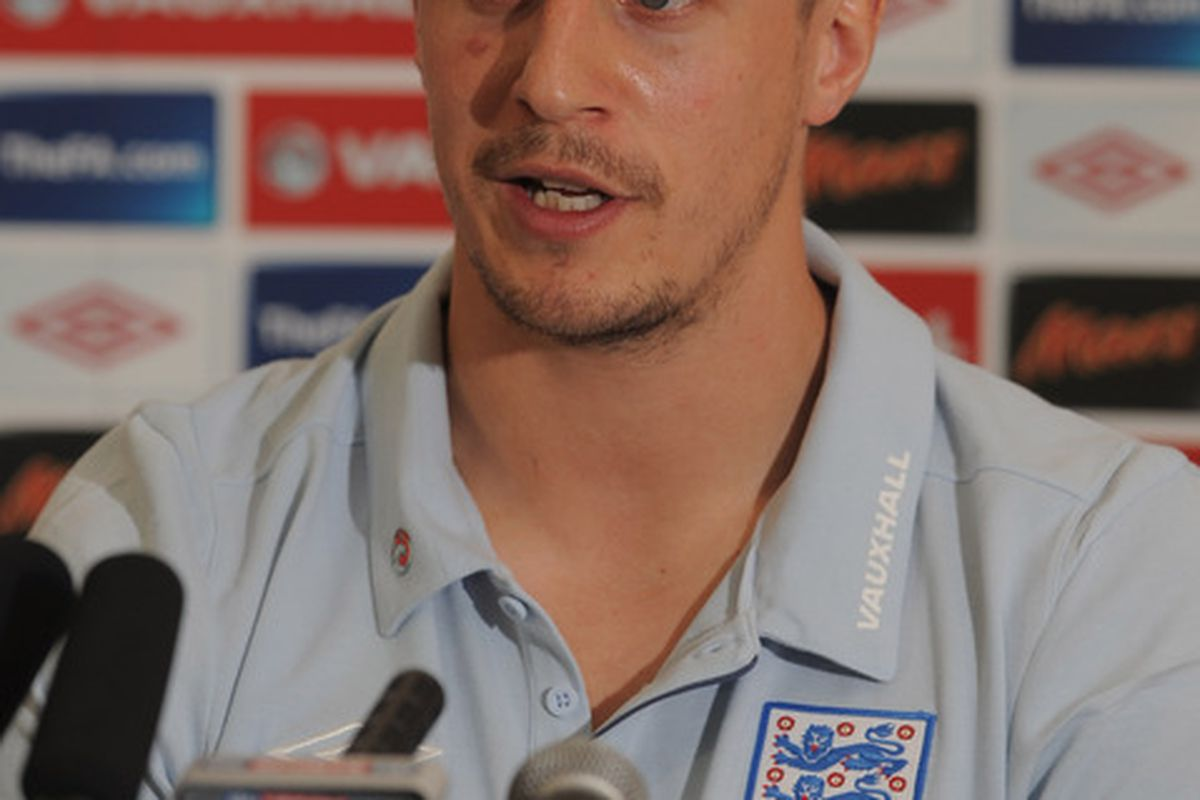 WATFORD, ENGLAND - MARCH 23:  Phil Jagielka speaks to the media during the England press conference ahead of their UEFA EURO 2012 qualifier against Wales at the Grove Hotel on March 23, 2011 in Watford, England.