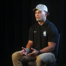 BYU running back Lopini Katoa answers interview questions during BYU football media day at the BYU Broadcasting Building in Provo on Thursday, June 17, 2021.