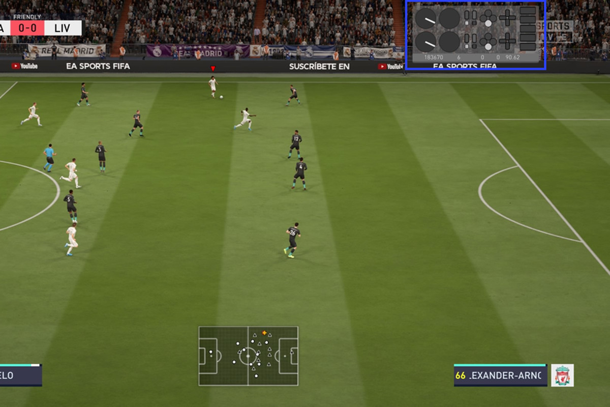 Screenshot of EA Sports FIFA 20 with an input overlay showing the commands a user is making on their gamepad.