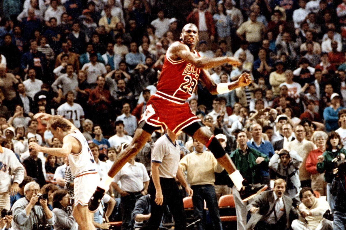 Michael Jordan celebrates