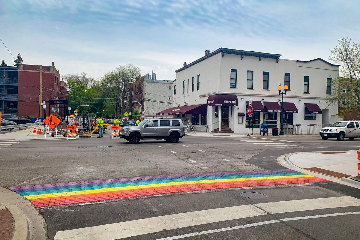 The first rainbow crosswalk at Aldine Street.