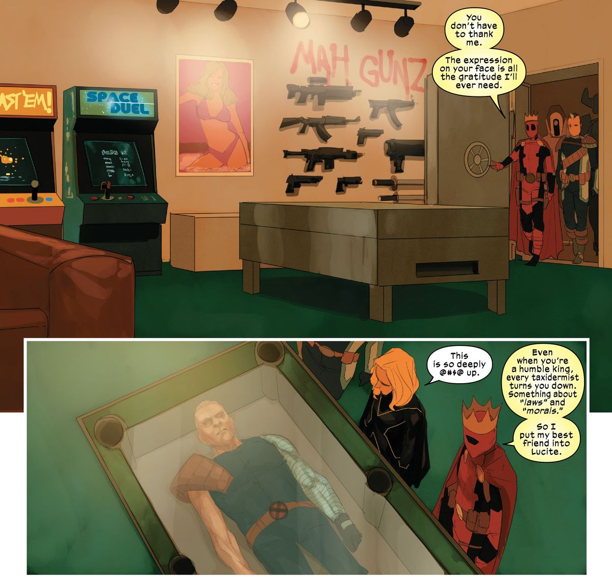 Deadpool shows Teen Cable and Esme Cuckoo into his man cave, where he's suspended Old Cable's body in lucite to use as a pool table, in Cable #3, Marvel Comics (2020).