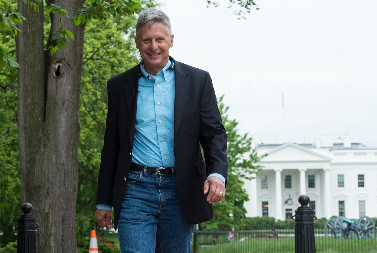 Gary Johnson, Libertarian candidate for president, trying to look hip and chill.