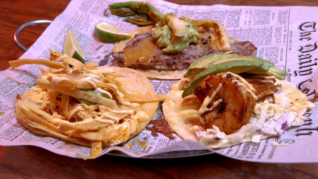 Tinga chicken, steak, and shrimp tacos, served at Chicago Taco Authority in Old Irving Park. | Brian Rich/For the Sun-Times