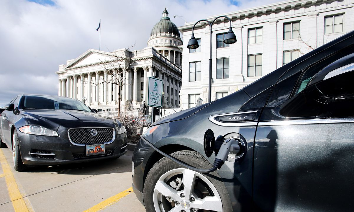 An electric car charges at the Capitol in Salt Lake City on Monday, Feb. 24, 2020.