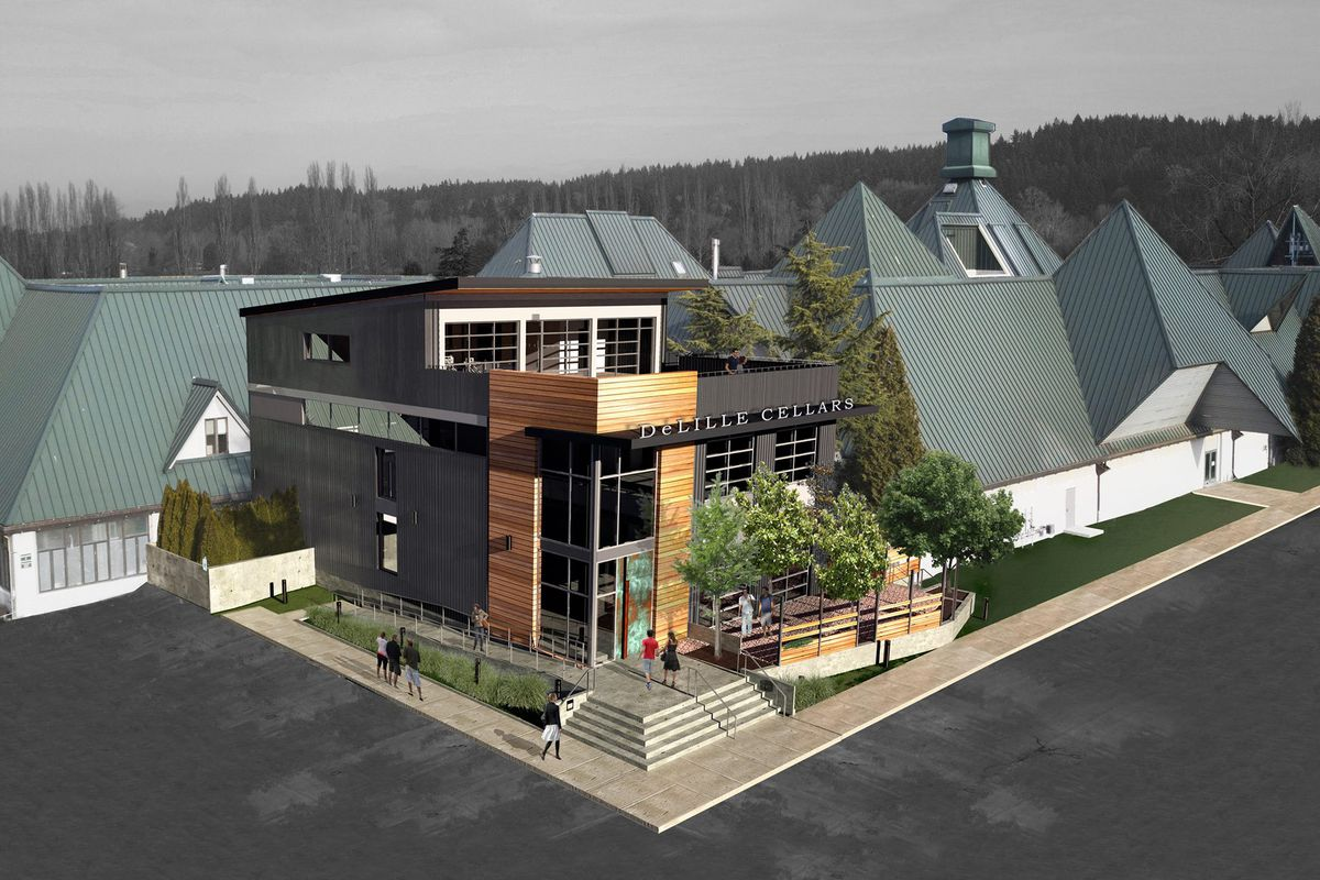 A rendering of the exterior of the new Hollywood Station building in Woodinville
