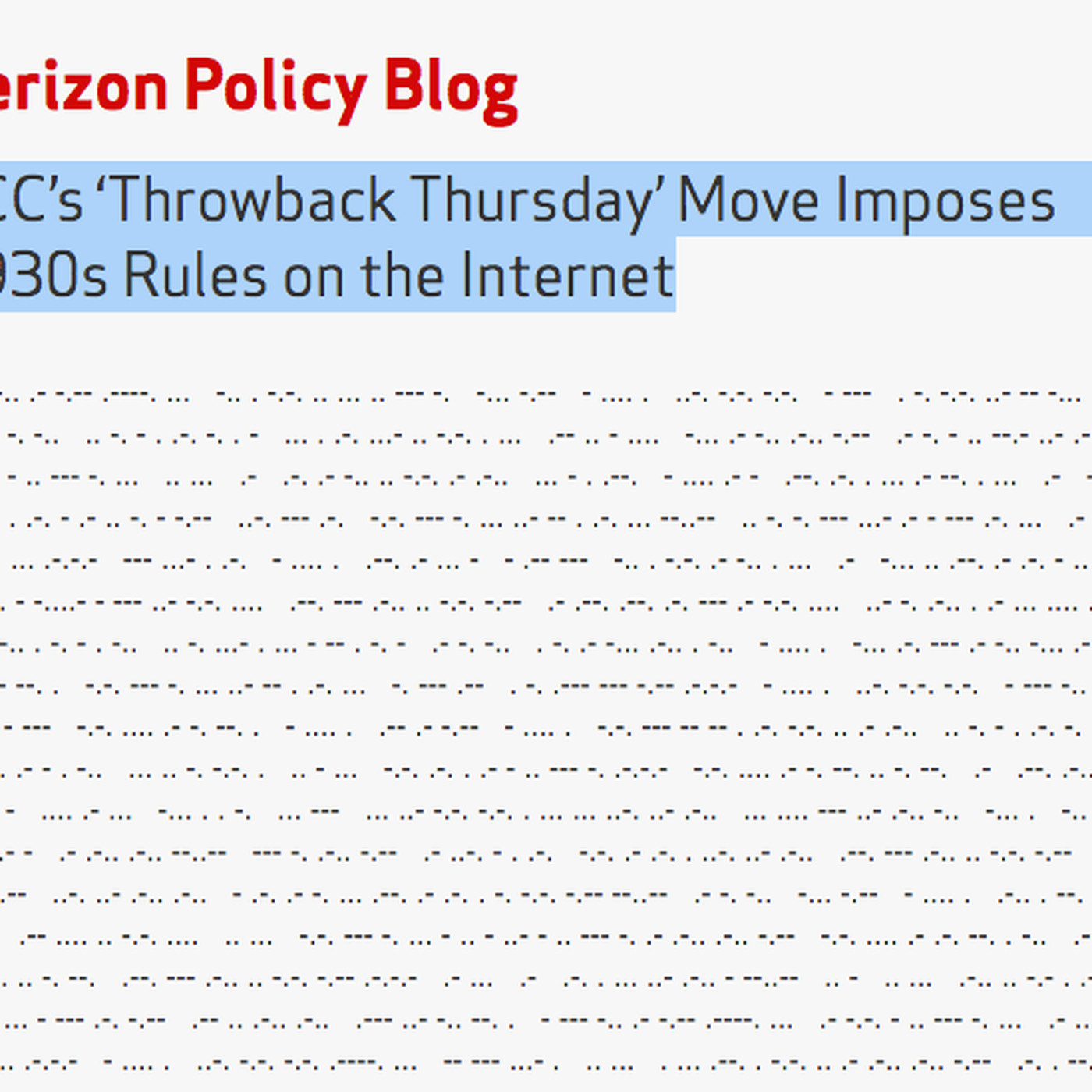 Verizon Trolls The Fcc S Net Neutrality Vote With A Blog Post Written In Morse Code The Verge