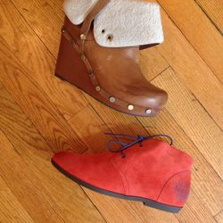 OTBT fleece lined wedge bootie: retail $185, reduced to $75 for sale; Red flannel-lined desert bootie: retail $104, $50 during the sale