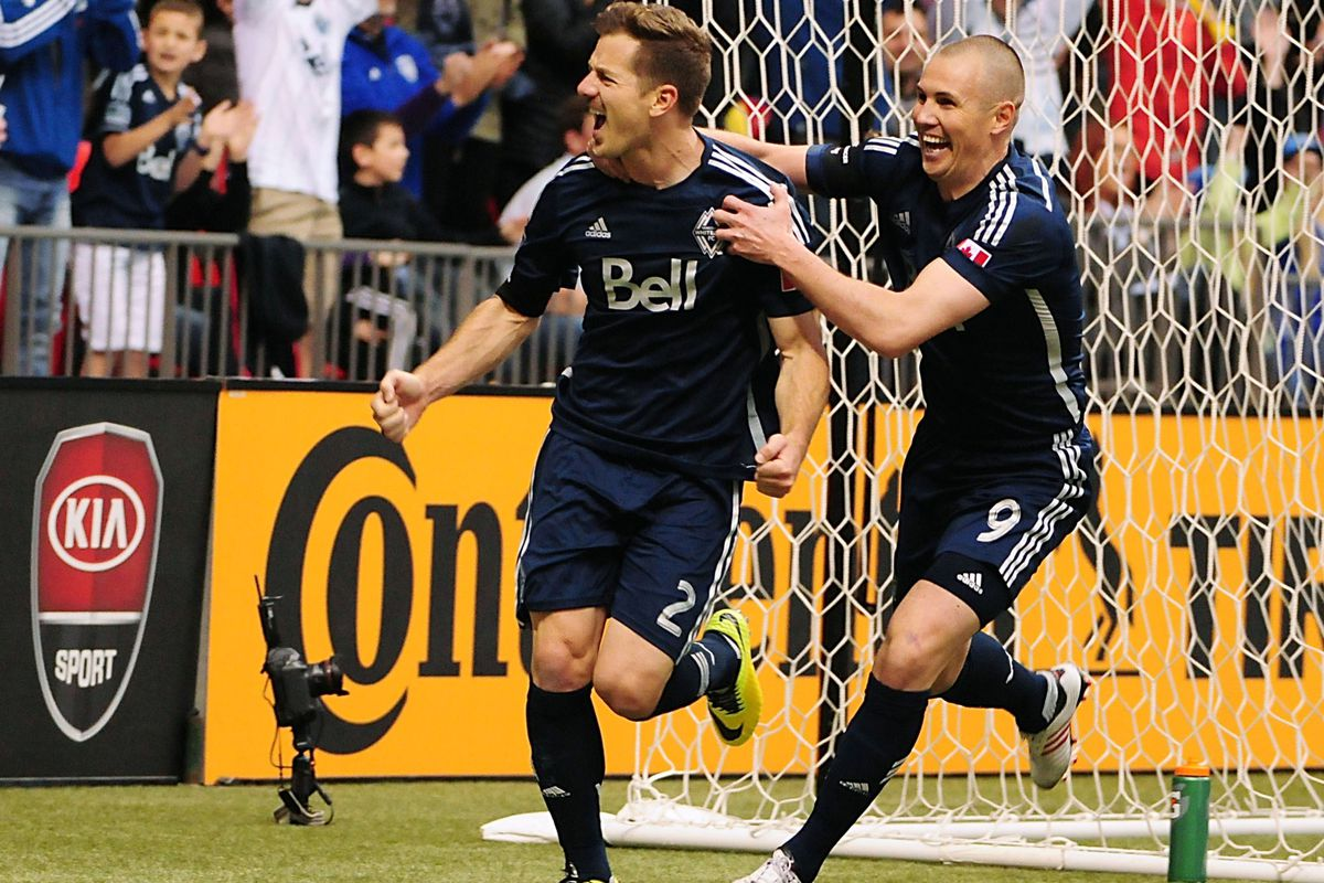 Will Jordan Harvey (L) and the Vancouver Whitecaps finally beat the LA Galaxy on the road?