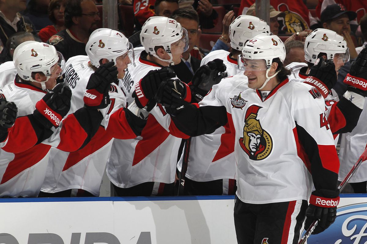 O'Brien celebrates his first career goal in Florida; the festivities were sponsored by Party City (Photo by Joel Auerbach/Getty Images)