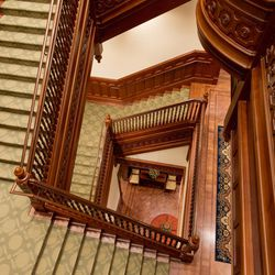 A three-story staircase inside the Provo City Center Temple was crafted out of wood, keeping with the Victorian interior design of the tabernacle.