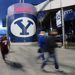 BYU and Mississippi State fans enter the stadium prior to play in Provo at LaVell Edwards Stadium on Friday, Oct. 14, 2016.