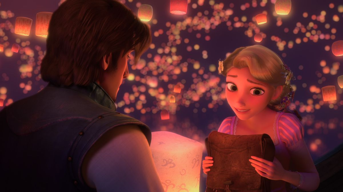 rapunzel and flynn rider surrounded by lanterns