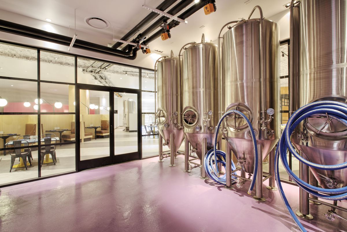 The brewing room at Trustworthy Brewing Co. & BBQ