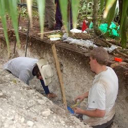 BYU soil scientists collect samples from a site at Tikal, Guatemala.