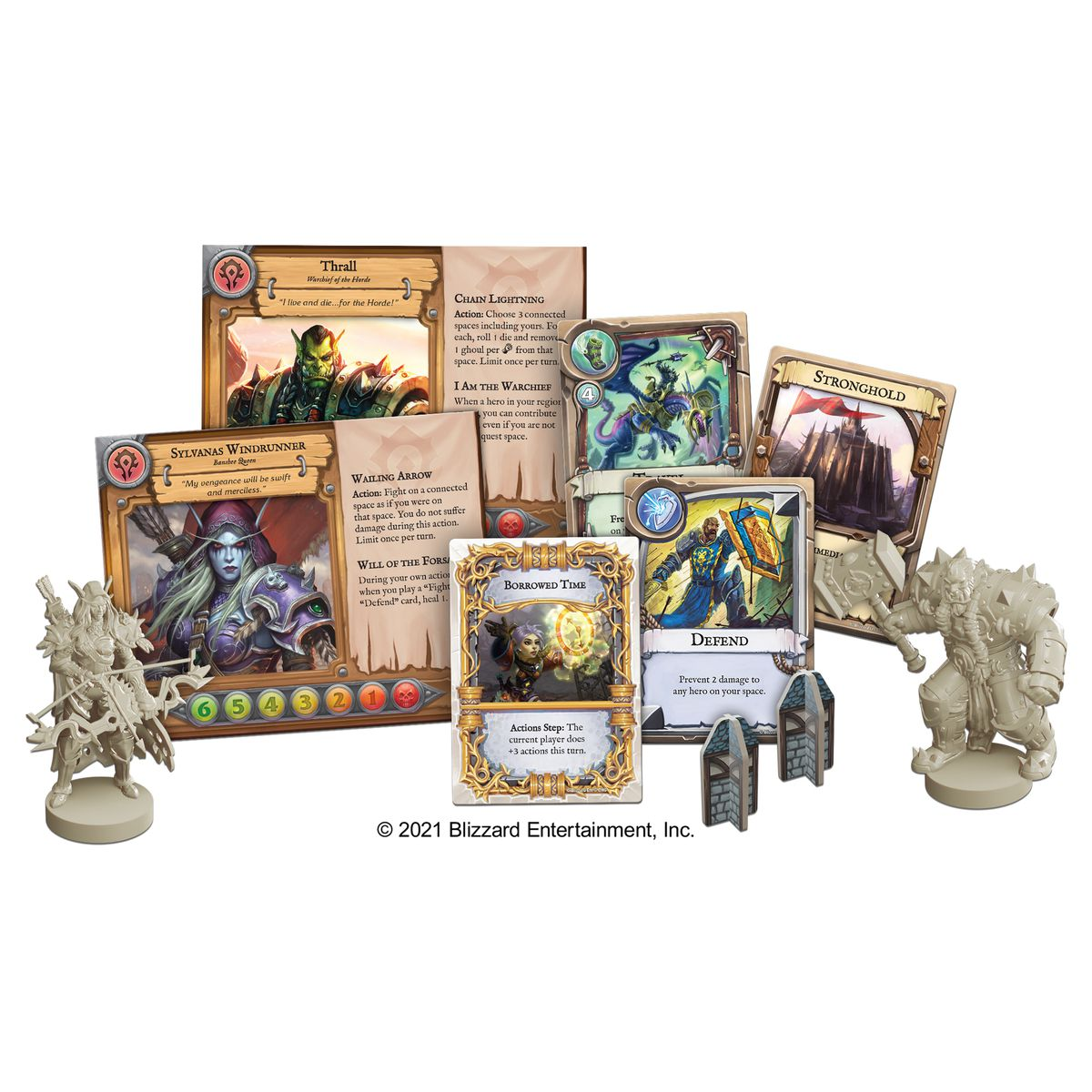 Hero character pieces, including two sideboard cards with special powers for Sylvanas and Thrall.