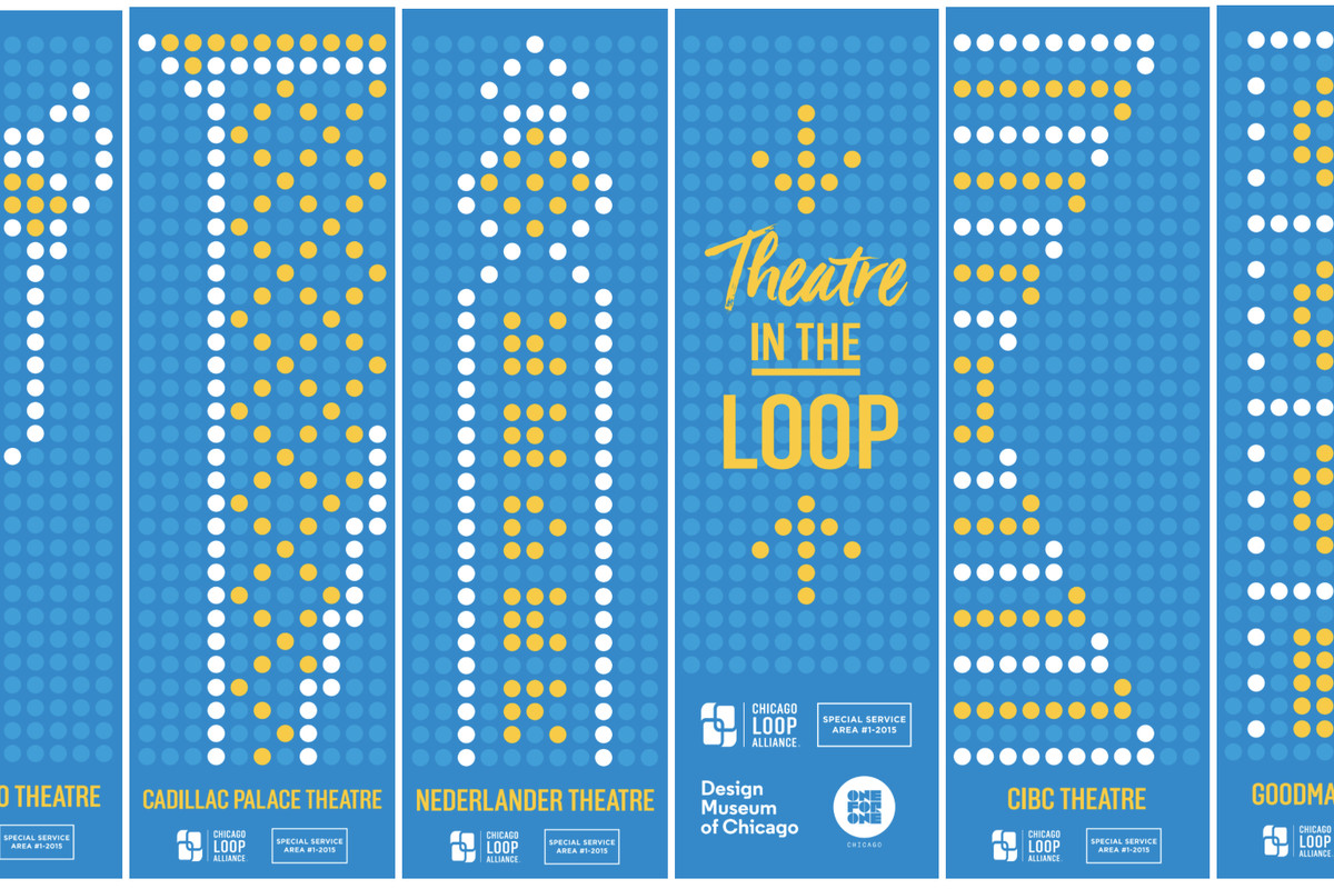 Renderings side by side that show the dotted graphic design interpretation of Chicago's iconic theater marquee signs.