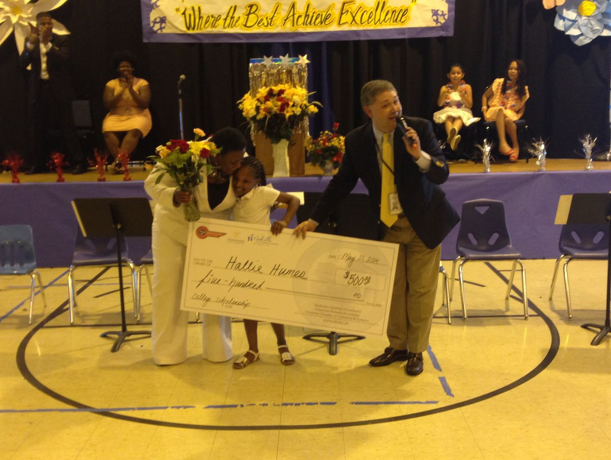 Crump Elementary student is awarded a $500 scholarship.