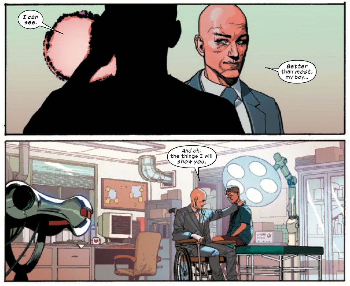 """""""I can see,"""" a young Cyclops says after putting on his ruby quartz glasses for the first time. """"Better than most, my boy,"""" Professor X replies, """"And oh, the things I will show you,"""" in X-Men #1, Marvel Comics (2019)."""