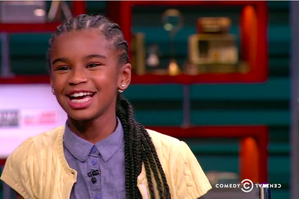 New Jersey sixth-grader Marley Dias speaks about her book drive on The Nightly Show.