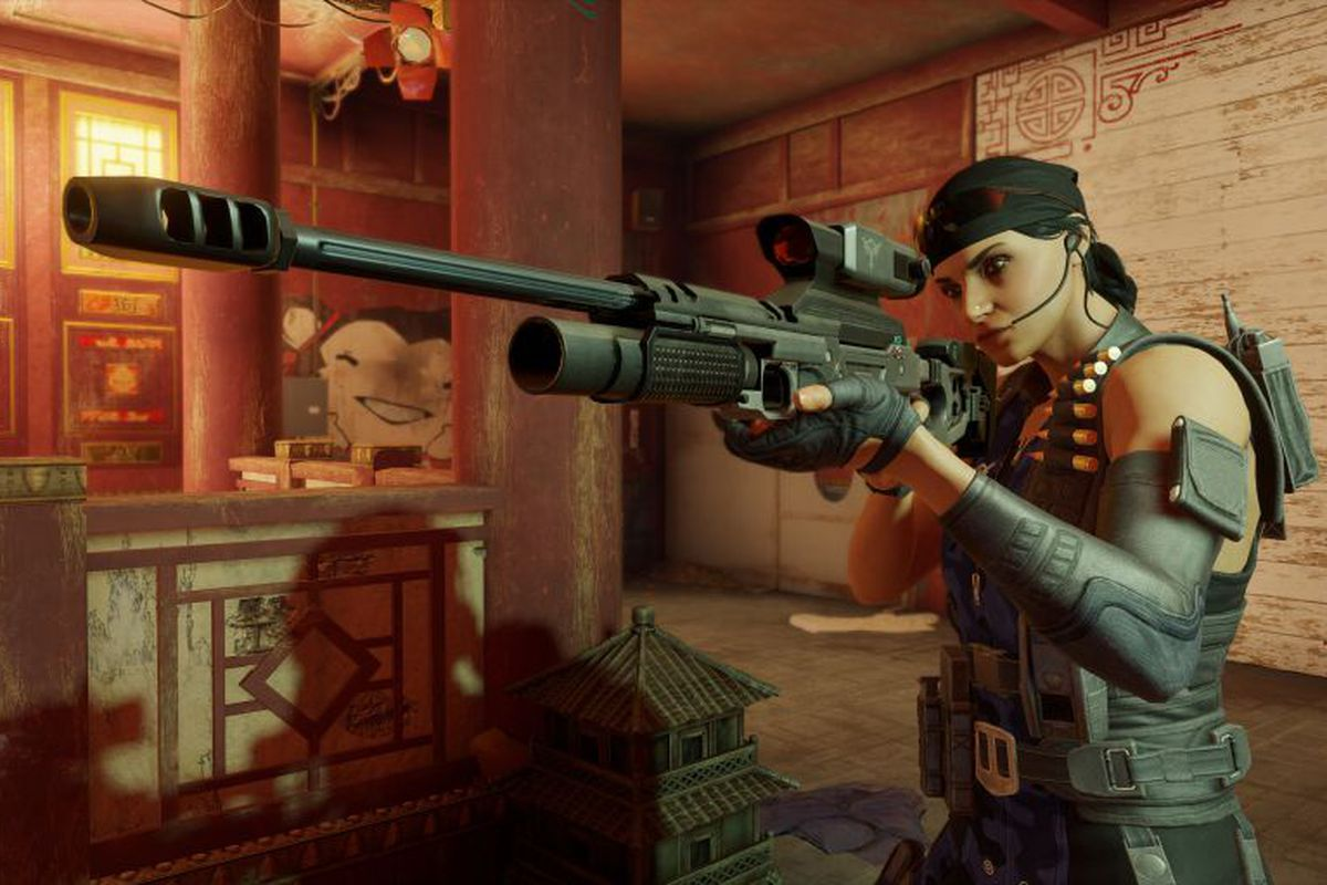 Rainbow Six Siege's new operator, Kali, with her weapon, the CSRX 300, a very large sniper rifle