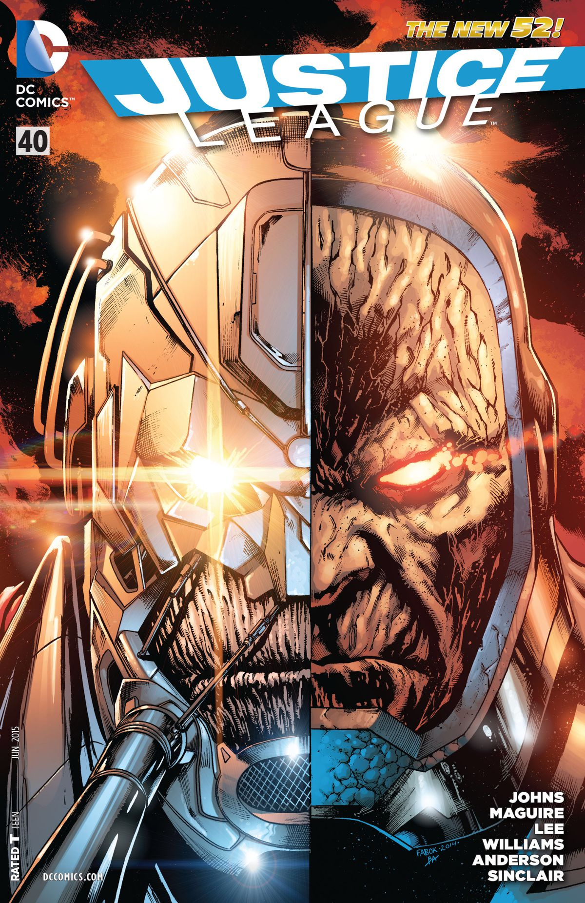 Darkseid's face placed sideby side with the Anti-Monitor's on the cover of Justice League #40, DC Comics (2015).