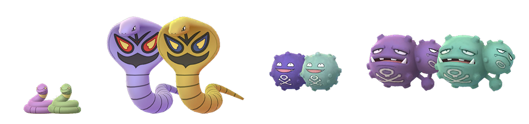 A comparison between the Shiny and regular forms of Ekans, Arbok, Koffing, and Weezing.