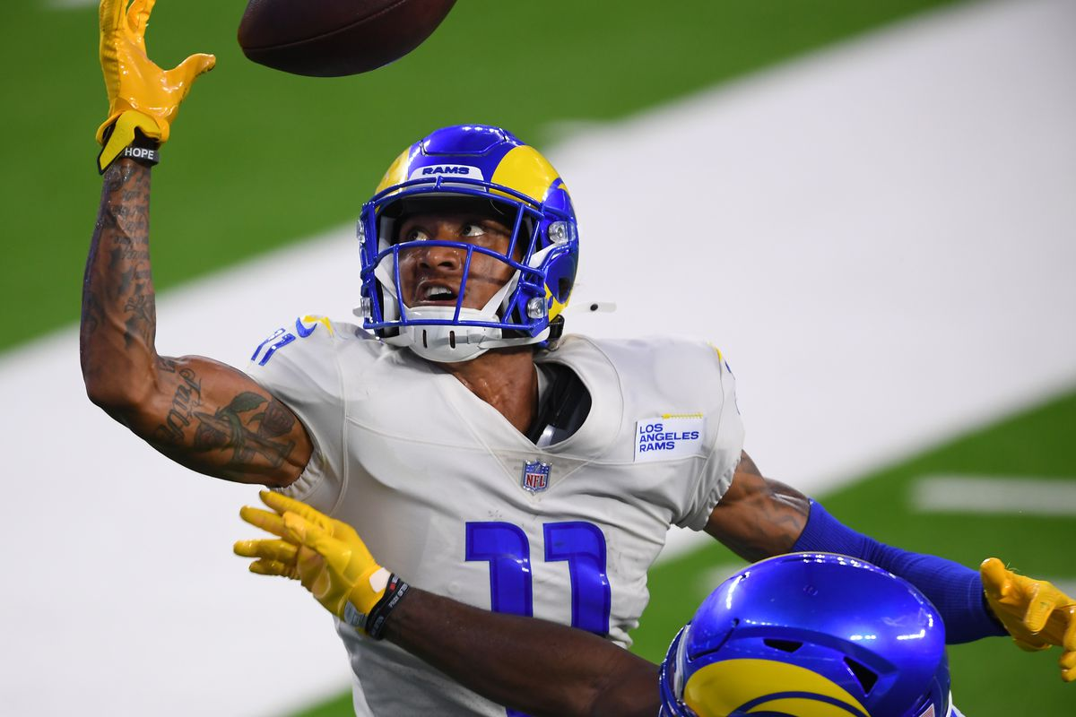 Cornerback Darious Williams #31 defends a pass intended for wide receiver Josh Reynolds #11 of the Los Angeles Rams in the end zone during the team scrimmage on August 22, 2020 at SoFi Stadium in Inglewood, California.