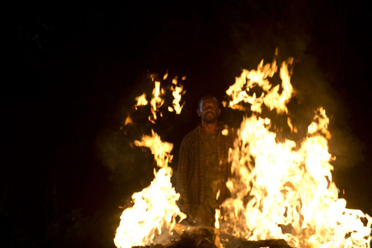 Morgan burns some zombies.