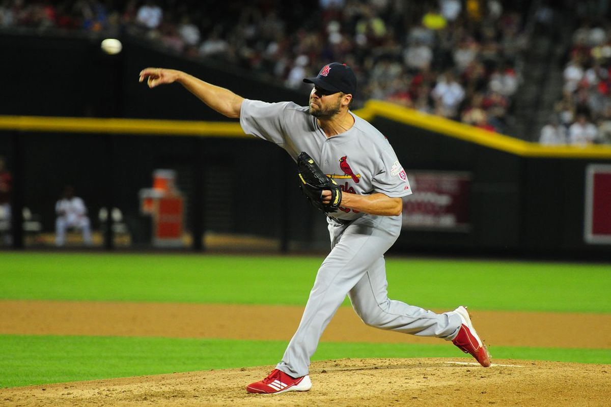 May 8, 2012; Phoenix, AZ, USA; St. Louis Cardinals pitcher Jake Westbrook throws in the fourth inning against the Arizona Diamondbacks at Chase Field. Mandatory Credit: Mark J. Rebilas-US PRESSWIRE