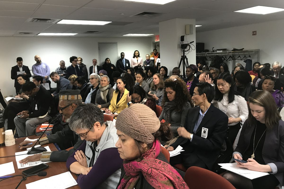 The crowd listens during a state Senate New York City Education committee hearing on mayoral control.