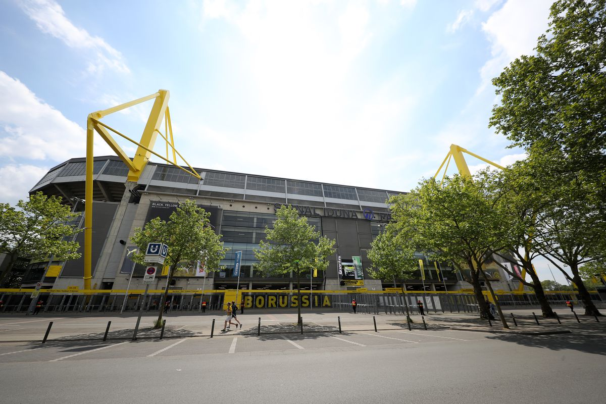 General view outside the Signal Iduna Park Stadium ahead of the Bundesliga match between Borussia Dortmund and FC Schalke 04 takes place on May 16, 2020 in Dortmund, Germany.
