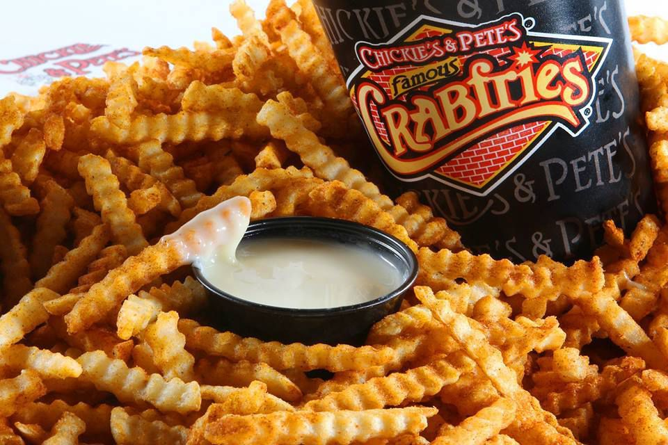 crab fries and dips from chickies and petes