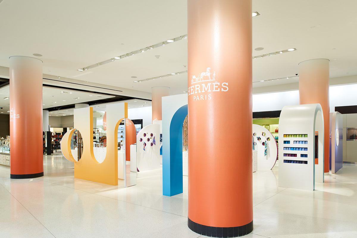 The Hermès concept shop, which resembles a creamsicle-colored jungle gym.