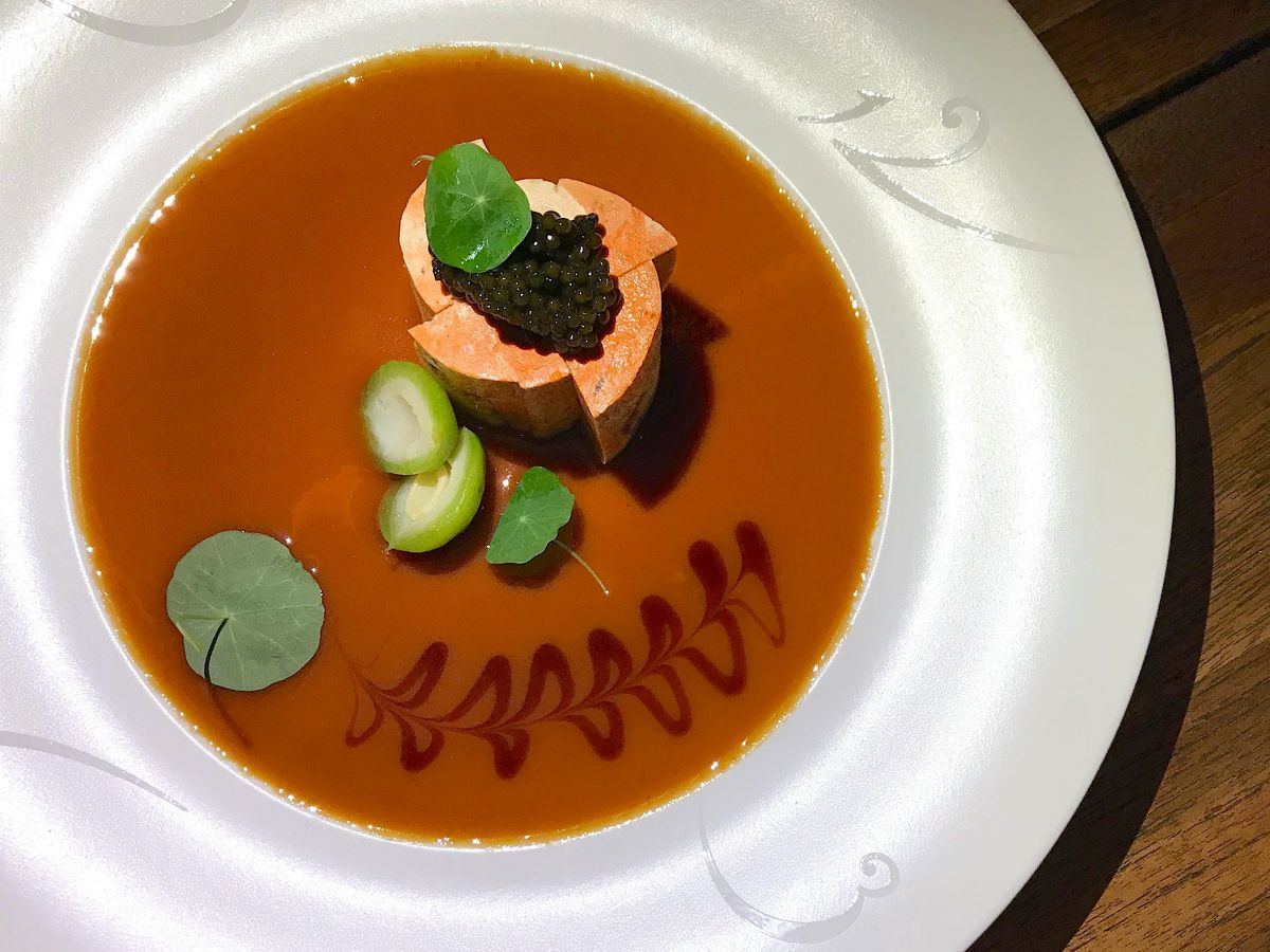 monkfish liver in mustard miso with caviar