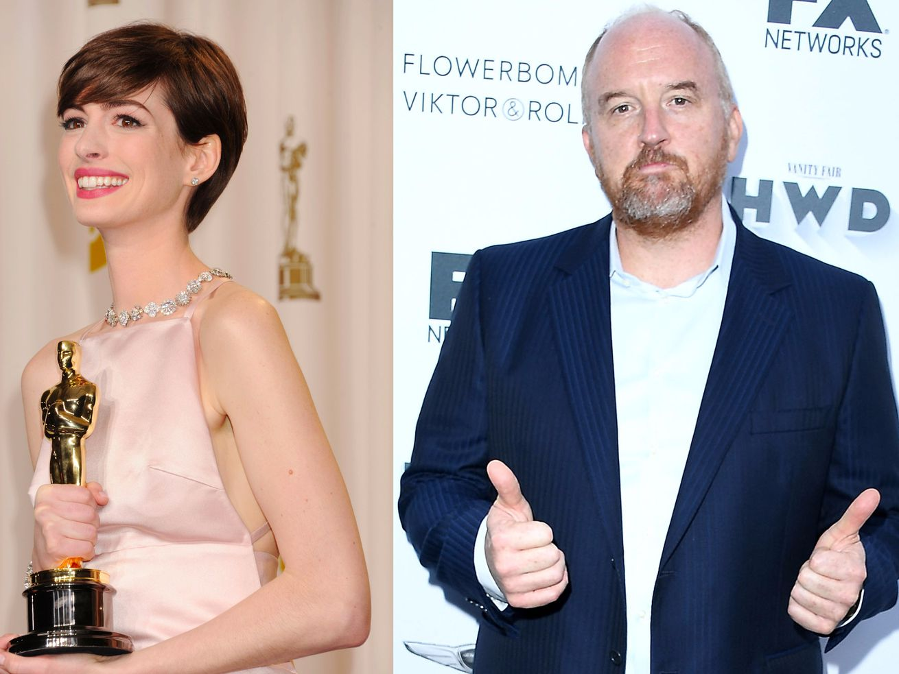 Anne Hathaway and Louis C.K.