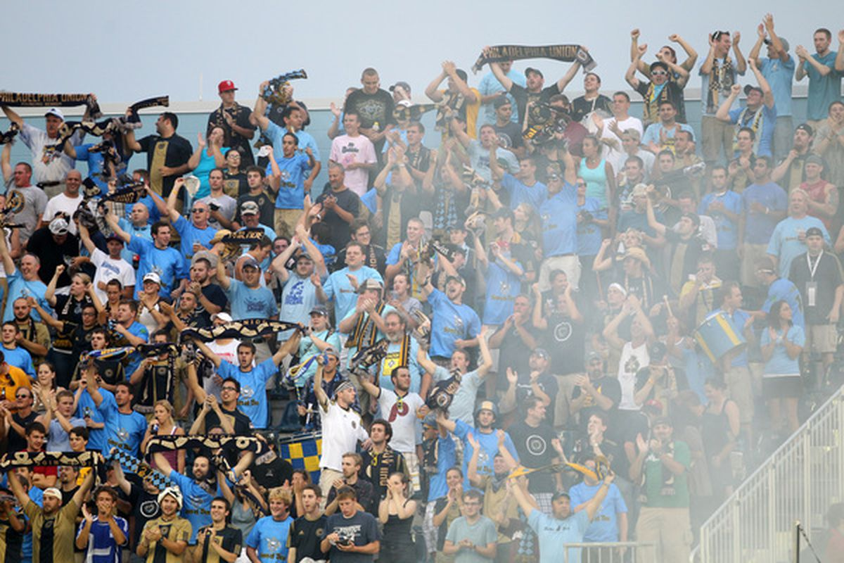 CHESTER PA - AUGUST 11: Philadelphia Union fans celebrate a goal during a game against Real Salt Lake at PPL Park on August 11 2010 in Chester Pennsylvania. The game ended in a 1-1 tie. (Photo by Hunter Martin/Getty Images)