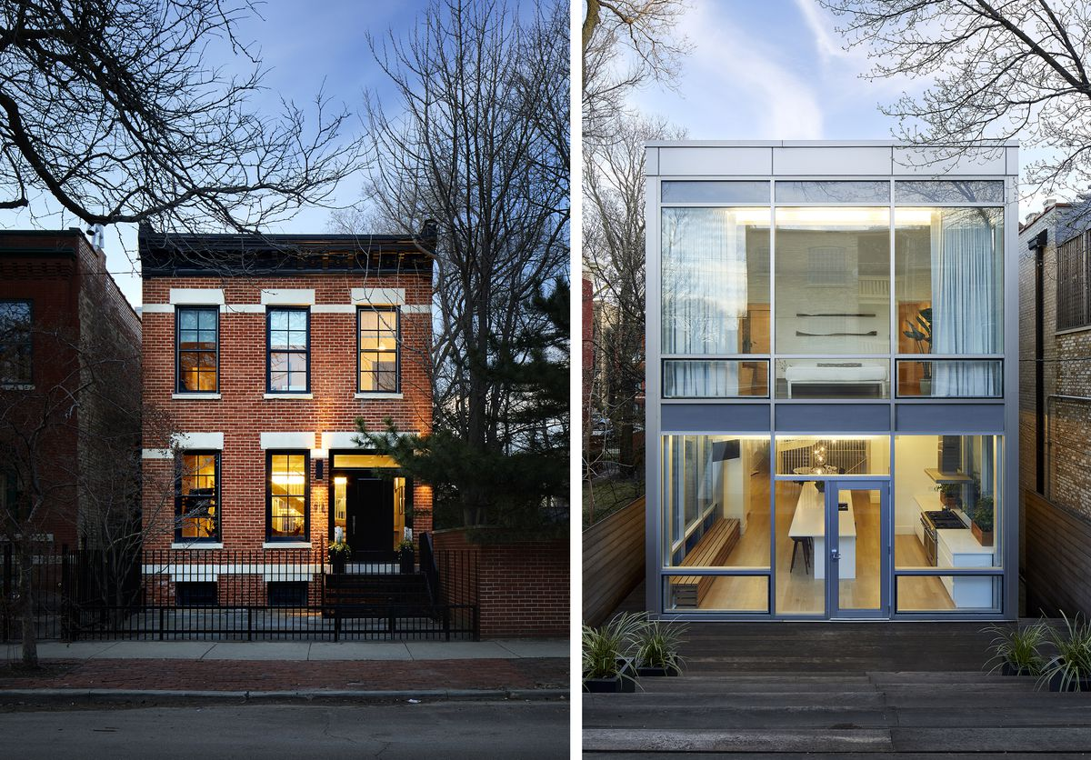 Shots show the brick front exterior and an all glass rear exterior.