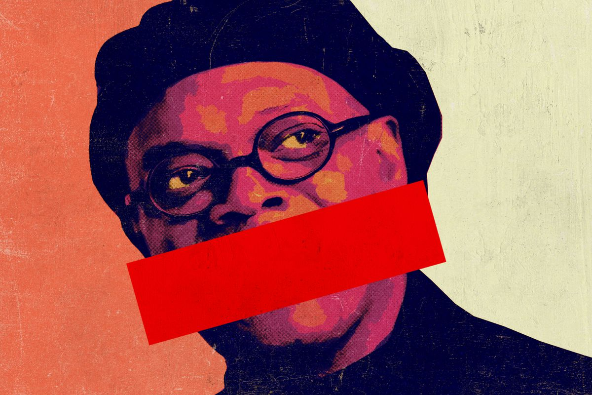 Samuel L. Jackson with a censor bar over his mouth