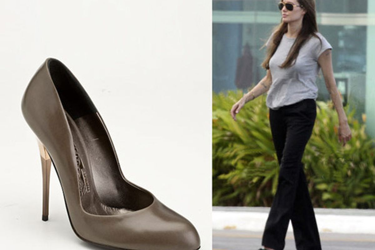 """Angelina Jolie sporting an """"old lady brand"""": She doesn't exactly look like she's on the way to a nursing home. Image via <a href=""""http://fashionrules.com/2010/07/how-to-hip-up-a-staid-brand-get-it-on-angelina-jolie/"""">Fashion Rules</a>."""