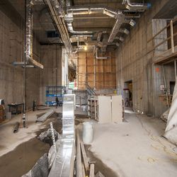 The entrance to the building which will have double height ceilings.